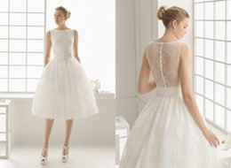 2018 Charming Short Wedding Dresses Simple Satin Bridal Gowns Beach Wedding Dress For Bride With Lace Iullsion Back Sash Knee-length