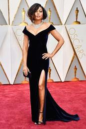 2017 Velvet Taraji P. Henson 89th Oscars Mermaid Black Celebrity Evening Dresses Off-Shoulder High Split Long Dress for Prom Party Gowns
