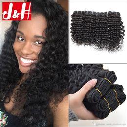 24 profonds faisceaux de cheveux bouclés à vendre-Brésilian Curly Virgin Hair Wefts 4 Paquets Natural Noir Brésilien Kinky cheveux bouclés tisse brésilien profond bouclés Virgin Cheveux humains paquets