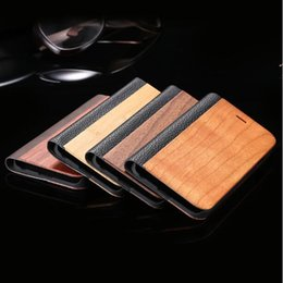 For iPhone 7 6 6s Plus Real Wooden Flip Folio PU Leather Case Book Style Natural Wood Bamboo PU Leather Stand Wallet Back Cover For iPhone 7