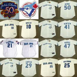 10 VERNON WELLS 21 CLEMENS 25 DELGADO 41 PAT HENTGEN 47 JACK MORRIS 50 HENKE Toronto Blue Jays 1997 Throwback Home Baseball Jersey stitched