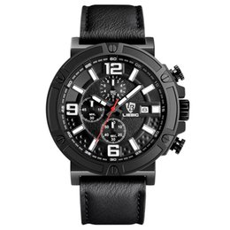 LIEBIG fashion luxury brand sport-utility man belt watch chronograph - 3 eyes 6 needle quartz waterproof military wristwatch free delivery