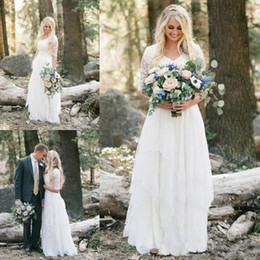 New Western Country Bohemian Wedding Dresses 2019 Lace Chiffon V Neck Half Sleeves Long Bridal Gowns Plus Size Dress for Wedding Cheap