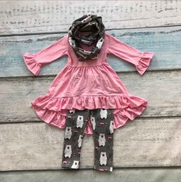 Wholesale 2016 baby FALL Winter pieces scarf sets children suit baby girls white bear clothing girls boutique clothes pink dress top