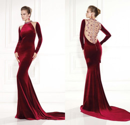 Wholesale Burgundy Mermaid Beaded Long Sleeve Prom Gowns New Year Long Velvet Evening Dresses Plus Size robe de soiree Alibaba