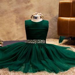 Jewel Neck Beaded Rhinestone Tulle Ball Gown Flower Girl Dress 2019 New First Communion Dresses Floor Length