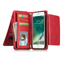 2 in 1 Magnet Detachable Removable Zipper Leather 14 Card Money Slop Wallet Case Cover for iphone XR XS XS MAX 6 7 6 plus 7 plus S9 NOTE 9