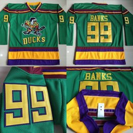 Wholesale Adam Banks Jersey Mighty Ducks Anaheim Movie Jersey Men s Stitched Embroidery Logos Hockey Jerseys Green S XL