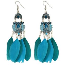 Vintage Tassels Earrings Fashion Jewelry Elliptic Hoop Ear Jewelry Folk Style Long Feather Basketball Wives Earrings For Women