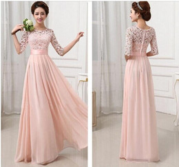 Top Fashion Vestidos De Fiesta Charming Elegant Pink White Lace Chiffon Long Formal Evening Dress Gown Wedding Party Dresses 2 color newest!