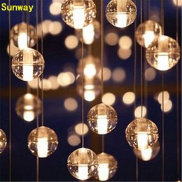 Wholesale G4 LED Crystal Glass Ball Pendant Lamp Meteor Rain Ceiling Light Meteoric Shower Stair Bar Droplight Chandelier Lighting AC110V V