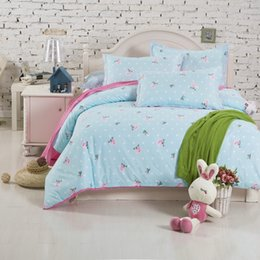 Wholesale fashion bedding floral duvet cover bed sheet pillow cases king queen double full twin size bed linen set aqua