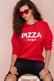 Wholesale Cheap Casual Hoodies - Christmas red boyfriend wind PIZZA letter printed shirt sweater sweater pullover hoodies wholesale cheap women hoodies free shipping cloths2