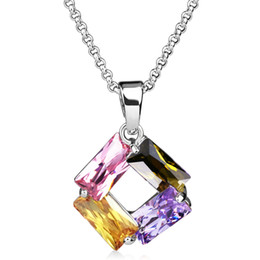Collar Necklace for Women with Cubic Zirconia White Gold Color Plating Square Shape Pendants Jewelry Wholesale Best Bijoux Gift