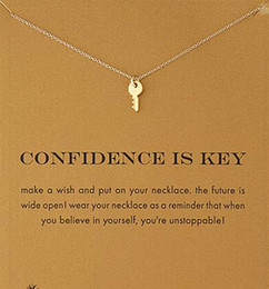 With card! Silver and gold color cute Dogeared Necklace with key(confidence is key), no fade, free shipping and high quality.