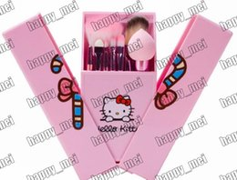 Wholesale Factory Direct DHL New Makeup Brushes Pink Hello Kitty Pieces Brush With Box And Mirror