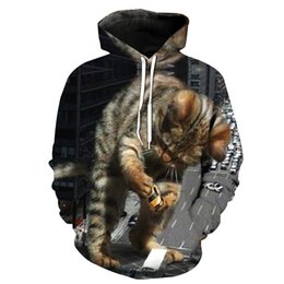 Free Shipping US Size M-5XL High Quality Autumn New Custom 3D Digital Printing Giant Cat Hooded Sweatshirt Sweater