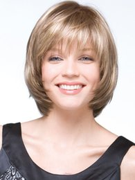 Beautiful Blonde Wig Straight Short style Synthetic wigs very natural comfortable women Wig free shipping