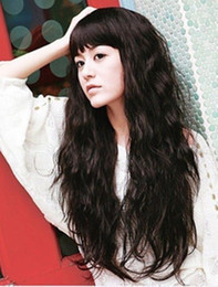 New Long Dark Brown Fashion Wavy cosplay full wig+wig cap High Quality Fashion Picture full lace wigs
