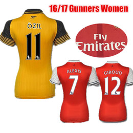 Wholesale 2016 Women Arsenal Soccer Jerseys Soccer Kits OZIL WILSHERE RAMSEY ALEXIS GIROUD Welbeck Ladies Girls Gunners Football Jersey