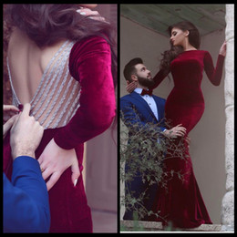 Robe De Soiree 2020 Long Sleeves Mermaid Evening Dress Backless Velour velvet Arabic Evening Dresses Burgundy vestidos de fiesta