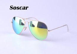 Descuento lentes polarizadas Soscar Gafas de sol Pilot Style Gold Frame Flash Espejo Lentes 58mm Gafas de sol de marca para hombres Mujer Polarizadas Gafas de sol UV400 Gafas