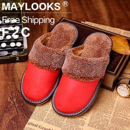 Waterproof Winter Warm Home Slippers Women Genuine Cow Leather Plush Woman Floor Slipper Shoes Free Shipping