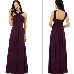 2017 Burgundy Bridesmaids Dresses Chiffon Empire Long Floor Length Maid Of Honor Gowns Cheap Simple Weddings Guest Dress