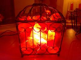 Wholesale Iron crystal salt lamp Chinese antique ceramic container salt crystal lamp Himalayan crystal salt block