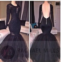 Vestidos Elegant Black Long Sleeves Mermaid Prom Dresses 2017 Sexy Backless Appliques Sequins Long Party Occasion Gowns Evening Dresses