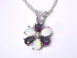 Wholesale & Retail Fashion Jewelry Fine White Fire Opal Stone Silver Plated Pendants For Women PJ16021414