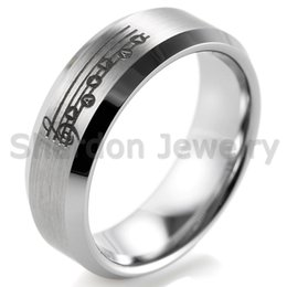 Wholesale SHARDON Beveled Tungsten Carbide comfort fit black lasered Zelda Song of Time and Bit Hearts Ring for Men Outdoor Wedding Bands