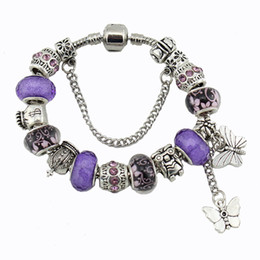 Wholesale Crystal Butterfly Bracelet Set - New Purple diy crystal beads butterfly bracelet the European and American fashion charm bracelets free shipping