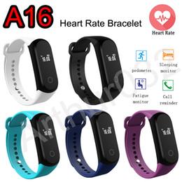 Moniteur de sommeil podomètre en Ligne-Heart Rate Smartband 0.42 '' OLED A16 Bracelet Bracelet Bracelet Montre Moniteur Sport Podomètre BT4.0 IP67 Bracelet étanche Smartwatch DZ09