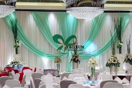 3M*6M White And Turquoise Wedding Backdrop Stage Curtain And The Pie Stand \ Stent Decoration