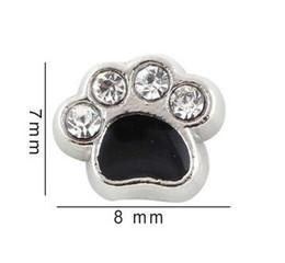 7*8mm Crystal Enamel Black Dog Paw Floating Locket Charms Fit For Glass Magnetic Memory Locket Pendant