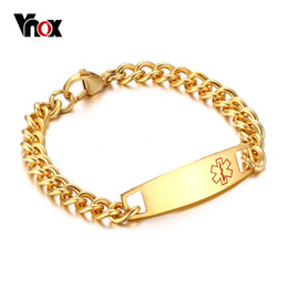 Men s stainless cuff bracelet à vendre-Vnox Men's Cuff Bracelet Medical Alert ID Tag 316l Acier inoxydable Link Chain Wrist Men Jewelry Free Engrave Factory Wholesale