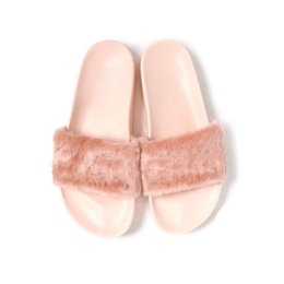Wholesale Rihanna Leadcat Fenty Fur Slide Sandal women slippers Men Slippers Pink white blue Grey color US5 US9 with Box High Quality