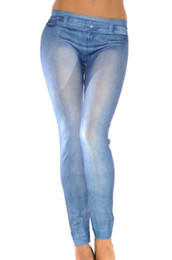 One size Women's Print Fake Jeans Seamless Skinny Leggings Tight Cropped Pants HY9063BE