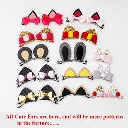 Wholesale Hot sale cat ear rabbit ear hair clips D shiny children hair barrettes fashion and cute design beautiful kids hair accessories