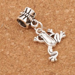 Frog Charm Beads 60pcs lot 30.8x15.6mm Antique Silver Dangle Fit European Bracelets Jewelry DIY B167