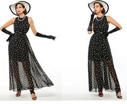 Polka Dots de las mujeres vestido maxi Bohemian A-Line sin mangas de largo verano casual Beach Chiffon vestidos de fiesta desde línea vestido de lunares larga fabricantes