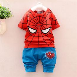 Promotion spiderman ensembles de vêtements d'été Vêtements pour bébés Spiderman 2016 Summer Causal Enfants Vêtements Boys Sport Suit Enfants Vêtements Set Toddler Boy Tracksuit 2pcs