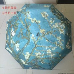 Wholesale oil painting Vincent Van Gogh Almond Blossom sun rain Umbrella Fold Anti UV fashion hot selling abstract art