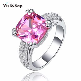 Visisap Pink stone Rings for girl 4 ct cubic zirconia fashion Jewelry wedding engagement White Gold Color VSR146