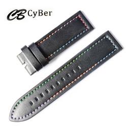 Cbcyber men's watch bracelet belt black watchbands genuine leather strap watch band 22mm watch accessories wristband