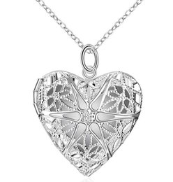 Wholesale Pendant Necklaces Long Necklace Charm Romantic Heart Necklace Mesh Locket Frame Pendant Explosions Silver Necklace Long Set Friend Necklace