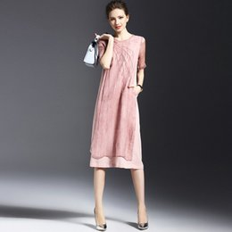 Wholesale Dress Summer Fashion In Europe and America To Restore Ancient Ways Stitching Embroidery Loose Linen Dress with Short Sleeves