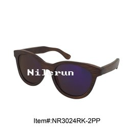 fashionable big butterfly bamboo frame purple polarized lens sunglasses