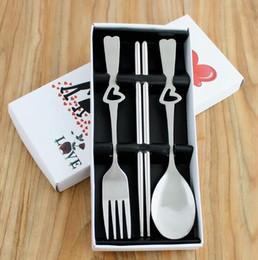 Love heart spoon fork and chopsticks set of 3pcs tableware wedding favors fork & spoon chopsticks 100sets wholesale free shipping